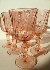 Set of Six French Vintage Sparkling Pink Wine Glasses