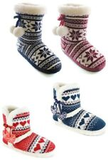 LADIES WOMENS KNITTED FAIRISLE BOOTIE WARM SLIPPERS POMPOM FAUX FUR CHRISTMAS