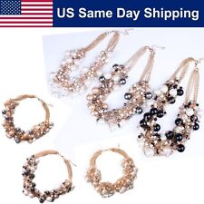 Women Charm Pendant Bib Cluster Pearl Bubble Collar Necklace Choker Chunky Party
