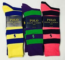 Polo Ralph Lauren Mens 2 Pairs Dress Socks Stripe & Solid Style 10-13 New! $18