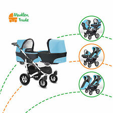 Double Twin Duo Pram Twinni Tandem Pushchair Stroller Buggy + Two Car Seat