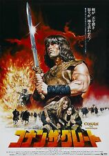 CONAN THE BARBARIAN Movie Silk Fabric Poster RARE Arnold Schwarzenegger