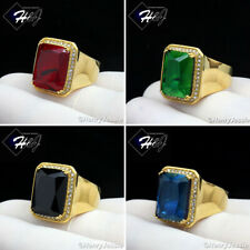 MEN's Stainless Steel ICED BLING CZ Gold Black Onyx/Ruby/Sapphire Ring*GR98