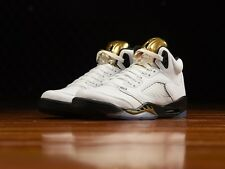 Air Jordan 5 V Retro BG 'Olympic Gold' White Black Metallic Gold Coin 440888-133