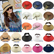 Womens Ladies Summer Sun Beach Fedora Floppy Hat Wide Brim Cloche Straw Bowknot