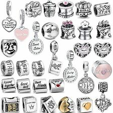 2017 Hot Sale Love Words Bead 925 Sterling Silver Charms Fit 3mm Bracelet Chain