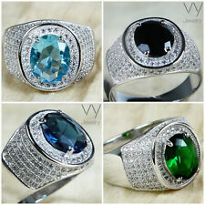 Turquoise Blue Black Green Mens Pinky Ring Solid 925 Silver Cubic Zirconia Size