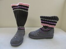 NEW Girls Skechers Twinkle Toes Bootsteps Light Up Boots 10416L Charcoal  67A