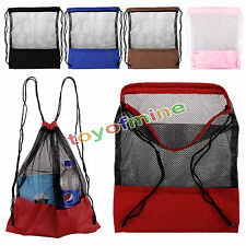 Mesh Drawstring Backpack Tote Sport Pack Clothes Shoe Travel Bag Beach Backpack