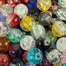 Hot 20-100X Round Clear Crackle Art Crystal Glass Loose Spacer Beads 4-12MM DIY