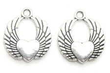 8/80 PCS Tibetan silver Craft Jewelry Angel Wings Heart Necklace Charms Pendants
