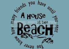 HOUSE AT BEACH Vinyl Wall Saying Lettering Quote Decoration Decal Sign Craft Art