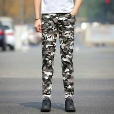 Mens slim camo casual cargo pants pockets overalls outdoor work cotton trousers