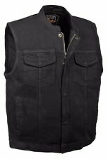 Men's SOA Style Denim Club Vest Black w/ Collar Gun Pocket, Snap/ Zipper Front