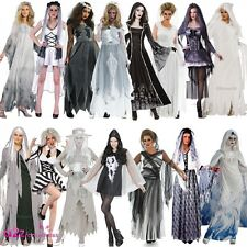 LADIES GHOST HALLOWEEN SPIRIT CORPSE BRIDE HAUNTING FANCY DRESS COSTUME OUTFIT