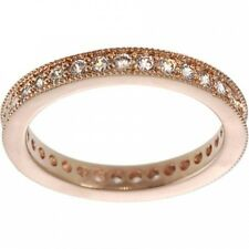 Alexandria Sterling Silver Rose Gold Cubic Zirconia Vintage Eternity Ring. Deliv