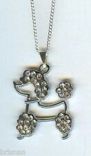 POODLE DOG, CLEAR CRYSTALS Charm Pendant & .925 Necklace - P649
