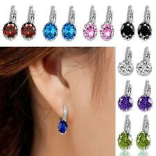 Women Elegant Austrian Zircon Crystal Rhinestone Shining Stud Drop Earrings