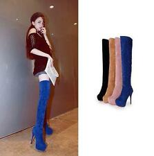 Women's winter warm fur lined over knee high boots stiletto heels zip up pumps