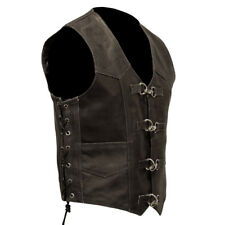 Black Distressed Leather Motorcycle Vest vintage aged look with metal clasps S-6