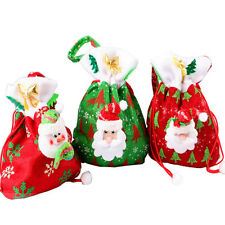 New Christmas Candy Bag Wrapping Sack Xmas Santa Tree Hanging Tote Present Pouch