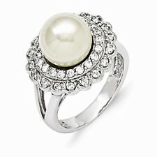 Sterling Silver Majestik 10 -11mm White Shell Pearl & CZ Ring (10mm)