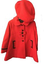 Girls Coat Red Washable Wool Girls Dress Coat & Hat Rothschild NWT 4-6X