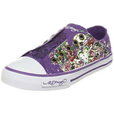 Ed Hardy Kid Authentic LR Stone Fashion Slip on Sneaker Shoes with Purple Stones