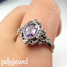 Ethnic 925 Sterling Silver Faceted Amethyst Ring Size 4 5 6 7 9