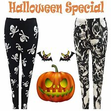 Ladies Halloween Black Leggings Pants Spider Web Pumpkin Bats Skull Rose Print