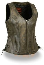Ladies Motorcycle Biker Distressed Brown Open Neck Soft Leather Vest w Side Lace