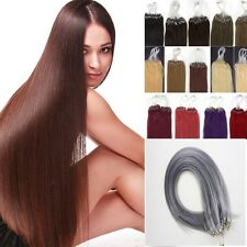 16''-26'' 100s Remy Loop Micro Ring Beads Tipped Human Hair Extensions Straight
