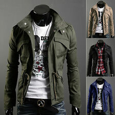 Men Military Style Fit Slim Stand Collar Coat Jacket Zip Button Overcoat Outwear