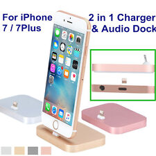 Alloy 8Pin Lightning Charger & 3.5mm Audio Dock Cradle Station For iPhone 7 Plus
