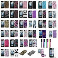 For Apple iPhone 5 5th 5G 5S Bling Diamond Hard Case Cover+LCD Guard+Stylus