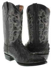 mens black exotic crocodile ostrich western cowboy leather boots rodeo biker new