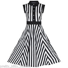 White Black Stripe Vintage Cocktail 50s 60s Sleeveless Rockabilly Swing Dress