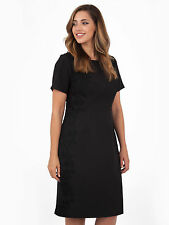 Lovedrobe Womens Plus Size Lace Side Embroidered Short Sleeve Shift Dress Black