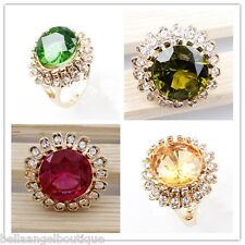 Large Austrian Crystal Rhinestone Round Rings 4 colours