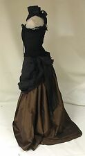 Steampunk Victorian Style Women's Outfit  Brown Skirt And Rose Corset