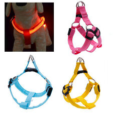 Dog Belt LED Flashing Light Harness Safety Pet Puppy Harness Collar Lead Leash