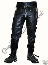 100% GENUINE PREMIUM LEATHER MENS JEANS WITH SPANDEX PANTS TROUSERS BIKER
