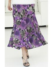 LADIES JOANNA HOPE GODET CHIFFON LINED LONG FLORAL PRINT PURPLE BLACK GREY SKIRT