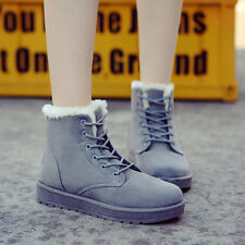Womens  Ankle Boots Shoes Winter Warm Snow Boots Casual Faux Suede Fur Lace-up