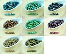 100pcs Silver Picasso Round Czech Glass Beads Faceted Fire Polished Small Spacer