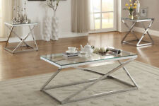 3PCS Coffee End Table Set glass tabletop with wood or silver chromed frame legs