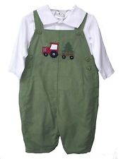 Boys Overall Set Tractor & Tree Green Corduroy by Petit Ami Infant Sizes NWT