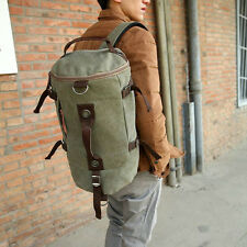 Men Vintage Leather Canvas Duffle Gym Bag Luggage Messenger Bag Travel Shoulder