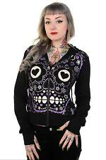 Banned Black Gothic Look Purple Sugar Skull Hoodie Halloween Party Outfit