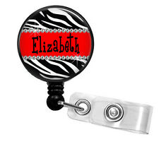 PERSONALIZED ZEBRA RED RETRACTABLE ID BADGE HOLDER LANYARD